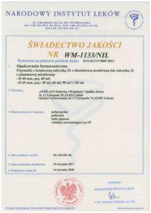 świad. jakości WM-1133-NIL kolor