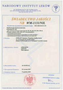 świad.jakości NIL WM 1131-NIL PP i PE